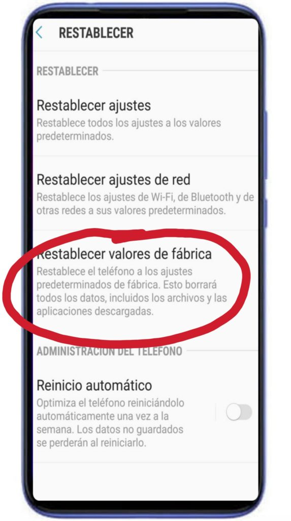 Resetear celulares Android