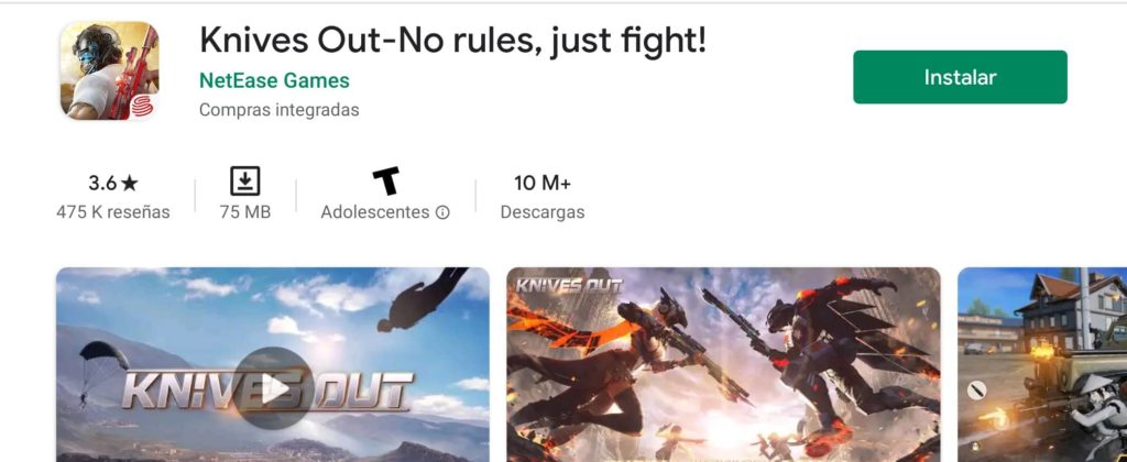 Knives Out-No rules Juego Battle Royale para Android